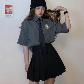 セットアップ レディース 高校生 中学生 10代 20代 シャツ スカート ネクタイ トップス おしゃれ 学生服風 衣装 ハロウィン ダンス 原宿系 韓国 ファッション 5101