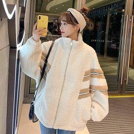 ボアジャケット レディース ボアブルゾン もこもこ アウター ジャンパー 高校生 中学生 10代 20代 韓国 ファッション ゆったり 3264