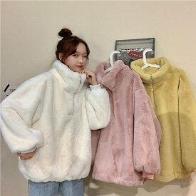 ボアブルゾン レディース ボアジャケット アウター 10代 20代 高校生 中学生 韓国 ファッション 暖かい 大きいサイズ 3321