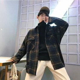 チェック シャツ メンズ トップス 長袖 韓国 ファッション 中学生 高校生 学生 10代 20代 おしゃれ 秋 冬 春 大きいサイズ 3023