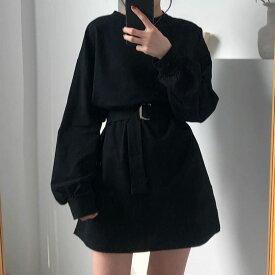 中学生 高校生 10代 20代 韓国 ファッション ボリューム袖 ベルト付き ストリートワンピース 黒 ブラック 5306