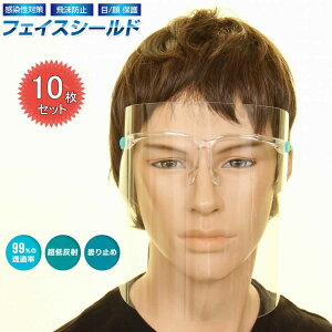 FACE SHIELD 透明マスク フェイスシールド 10個 眼鏡型 メガネ型 メガネタイプ おしゃれ メガネタイプ フルフェイス クリアシールド 保護シールド 透明 男女兼用 防護マスク ウィルス 感染防止
