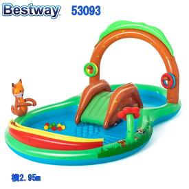 Bestway pool 53093 FRIENDRY WOODS ベストウェイ プール 滑り台付き 子供用プール 家庭用フレンドリーウッズ 噴水 横2.95mx1.99mx 1.30m【送料無料 あす楽 bestway アメリカで大人気 楽しい ビニールプール ビッグプ−ル 子供用 大人用 ベビー用 滑り台 ファミリー 大型】