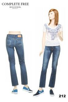 BIGJOHN BJL105F IRREGULAR JEAN'S AUTHENTIC DENIM SERIES COMPLETE FREE WOMEN'S TIGHT STRAIGHT 212 deep color straight beautiful leg stretch jeans