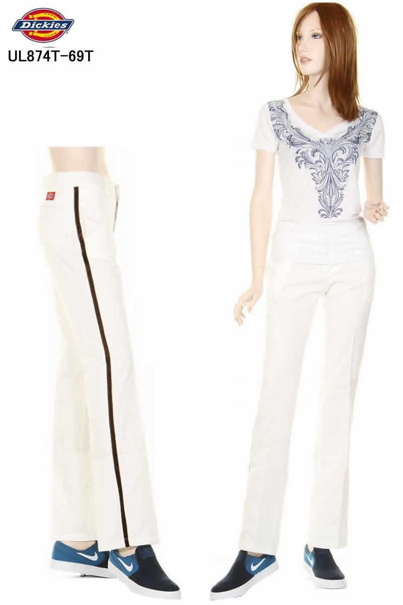 訳あり Dickies Girl Jeans UL874T-69T WHITE ホワイト ディッキーズ ガール フレアー パンツ サイドライン チノパン【訳有 展示品の為、若干の汚れ・変色有り ディッキーズ ガール ボトムス ジーンズ・デニム フレアジーンズ 返品不可商品】
