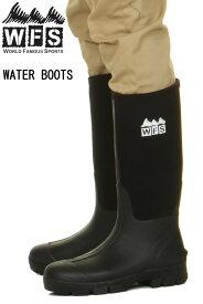 WORLD FAMOUS SPORTS LOS ANGELES USA BLACK 黒 クロ MEN'S WATER BOOTS Premium Boot 11インチ ワールドフェイマススポーツ 長靴【災害時に泥に強い 長靴 ウエットスーツの生地 BK くろ ブラック ウォーターブーツ 11インチ アウトドア キャンプ 台風 被災地 安全】