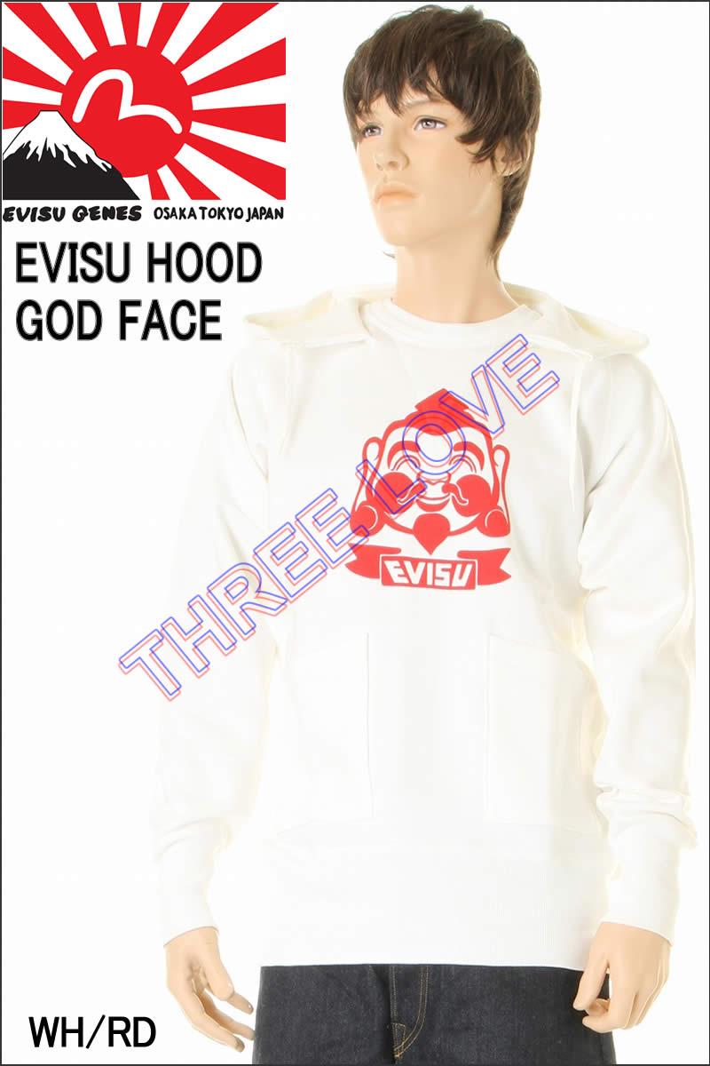 EVISU JEANS HOOD GOD FACE MARK SWEAT SHIRTS エヴィスジーンズ ゴットフェイス マーク スウェット プルパーカー【ゴッドフェイス 恵比寿様 エビス】