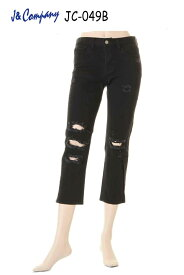 J&Company JC-049B jeans designs ダメージ デニム ボトム ジーンズ パンツ レディース セレブ アメリカ クロップド【ジェイアンドカンパニー カジュアル 脚長美脚 小尻 タイト スリム スキニー ブラック ニューヨークやロサンゼルスで大人気の! かっこいい】