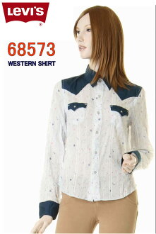 Arrival at fashion for the LEVI'S LADY STYLE 68,573-6601 Levis Lady's dobby western shirt white Longus Reeve long sleeves shirt woman