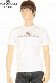 PARASUCO パラスコ 9700SB メンズ ショートスリーブ Tシャツ ホワイト メタリックラバープリント ロゴT 半袖tシャツ スリムフィット【パラスコ 9700sb メンズTシャツ オリジナル スリムフィット スリムレッグジーンズ アメカジ メンズ tシャツ 半袖 新品】