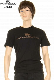 PARASUCO パラスコ 9700SB メンズ ショートスリーブ Tシャツ ブラック メタリックラバープリント ロゴT 半袖tシャツ スリムフィット【パラスコ 9700sb メンズTシャツ オリジナル スリムフィット スリムレッグジーンズ アメカジ メンズ tシャツ 半袖 新品】