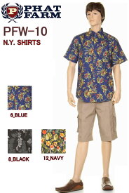 PHAT FARM ファットファーム NEW YORK HALF SLEEVE SHIRTS ハーフスリーブ シャツ ヒップホップ HIP HOP 大きいサイズ シャツ【ニューヨーク ファットファーム メンズ トップス 6_BLUE 8_BLACK 12_NAVY ブルー ブラック ネイビー 大きいサイズ メンズファッション 新品】