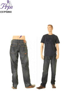 LONG POINT JEAN BARRACUDAバラクーダジーンズルーズフィットストレートオリジナルボタンフライイLOT E57P50NX(BLU/BLU WASH)PRPS Beckham愛用牛仔褲粗斜紋布牛仔褲