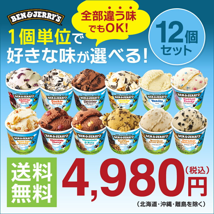 ベン&ジェリーズ12個セット 12種類から選び放題♪ アイスクリーム ギフト アイス 【送料無料】Ben&Jerrys お礼 お返し 内祝い 出産祝い お祝