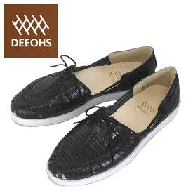 sale セール 正規取扱店 DEEOHS (ディオス) ML-1002T BETA (ベータ) 編み込み ローカット メンズ レザーシューズ black (ブラック) DE025