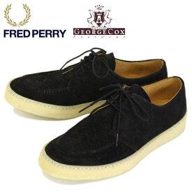 正規取扱店 FRED PERRY (フレッドペリー) x GEORGE COX (ジョージコックス) Wネーム B1910-102 POP BOY SUEDE スウェードレースアップシューズ BLACK FP327