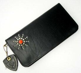 正規取扱店 HTC #STAR BURST2 TYPE 1 LONG WALLET(タイプ1ロングウォレット) 財布 ブラックレザー×シルバースタッズ