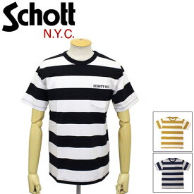 正規取扱店 Schott (ショット) 3193067 BORDER POCKET T-SHIRT ボーダー ポケット Tシャツ 全3色