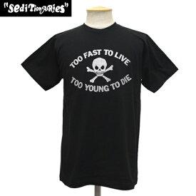 正規取扱店 SEDITIONARIES by 666 (セディショナリーズ) TOO FAST TO LIVE TOO YOUNG TO DIE Tシャツ ブラックxシルバーラメ STO008