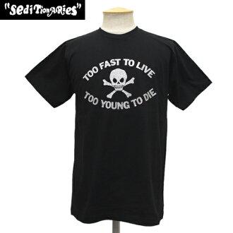 正規的經銷商SEDITIONARIES by 666(sedishonarizu)TOO FAST TO LIVE TOO YOUNG TO DIE T恤黑色x銀子金色金屬線STO008