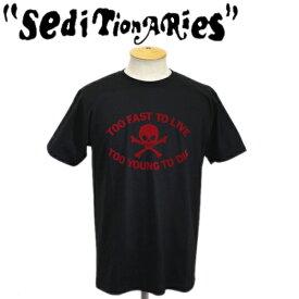 正規取扱店 SEDITIONARIES by 666 (セディショナリーズ) TOO FAST TO LIVE TOO YOUNG TO DIE Tシャツ ブラックxレッドフロッキー STO080