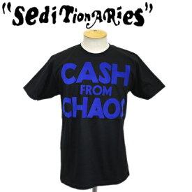 正規取扱店 SEDITIONARIES by 666 (セディショナリーズ) CASH FROM CHAOS Tシャツ ブラックxブルーフロッキー STO105