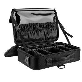 メイクボックス コスメボックス メイクブラシバッグ EVA化粧ポーチ Luxspire コスメポーチ メイクポーチ 3段式 サイズ:34.5*23.5*12CM 鏡 肩掛けベルト付き プロ用 仕切り 持ち運び 防塵 收納抜群 置き方調整可能 通勤・出張・旅行 大容量 衝撃吸収 化粧品収納 収納ケース