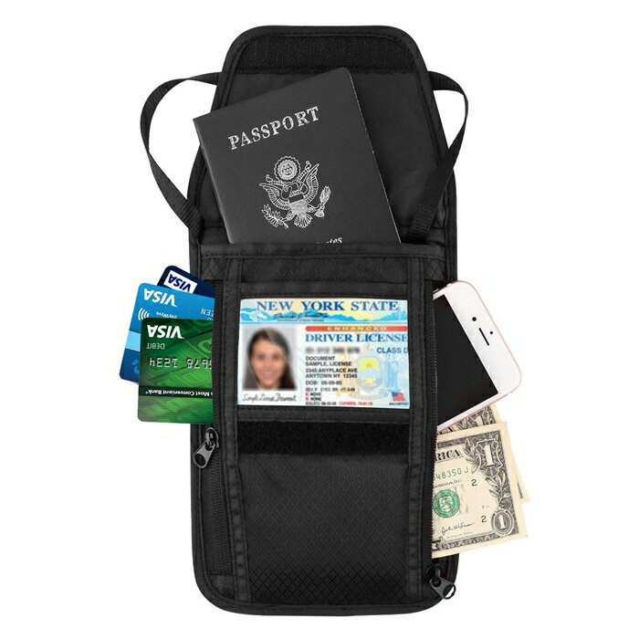 パスポートケース-ATiC 首下げ型ネックポーチ 折りたたみ式 ストラップ調節可能 国際免許証/紙幣/スマホ/鍵などの小物入れ 防水防盗 収納抜群 海外旅行/ショッピングキャリー iPhone Xs/iPhone XR/iPhone Xs Max等に対応可能