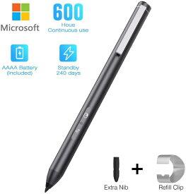 Surface スタイラスペン 極細 タッチペン アルミニウム製 Microsoft Surface通用タッチペン スタイラスペン 4096レベル 超高感度 長持ち ブルートゥースペアリング不要/充電不要/電源オンオフ不要 電池内蔵 操作簡単 描きやすい 耐久性 替え芯付き HLK/CE/Rohs/FCC認証済み
