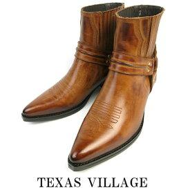 日本製 本革 ウエスタンブーツ ショート ブーツ リングブーツ メンズ レディース ステッチデザイン カウボーイブーツ 23.5〜31.0cm 3E 撥水加工 Texas Village テキサスヴィレッジ 5535 ブランド ブーツ ウエスタン