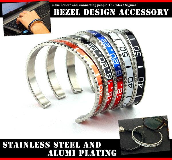 ウォッチ ベゼル デザイン ステンレス バングル ブレスレット ユニセックス メンズ レディース ロレックス ROLEX 調 腕時計