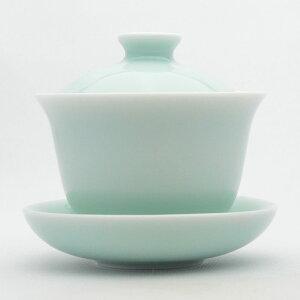 青磁の中国茶器・蓋碗三才杯(弟窯粉青)130ml(満水180ml)