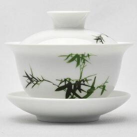 彩磁蓋碗(緑竹)