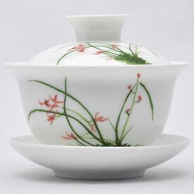 彩磁蓋碗(春蘭)