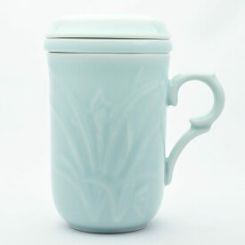 青磁の中国茶器・蘭花同心杯(弟窯粉青)240ml(満水290ml)