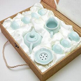 青磁茶器セット(弟窯粉青)茶壺150ml、茶海140ml、茶漉、杯25ml×6