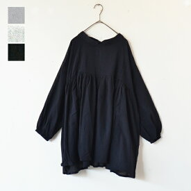 【Ruban de Tiara】ガーゼライク ワイドブラウス 袖コンシャス 長袖 胸元切替 コットン 綿 ギャザー 柔らか 着心地