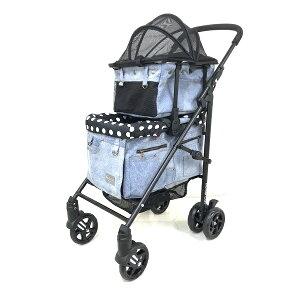 マザーカート Mother Cart ラプレ デニム 上下段セット【小型犬 キャリーバッグ キャリーカート ペットカート ペットバギー 犬用品】