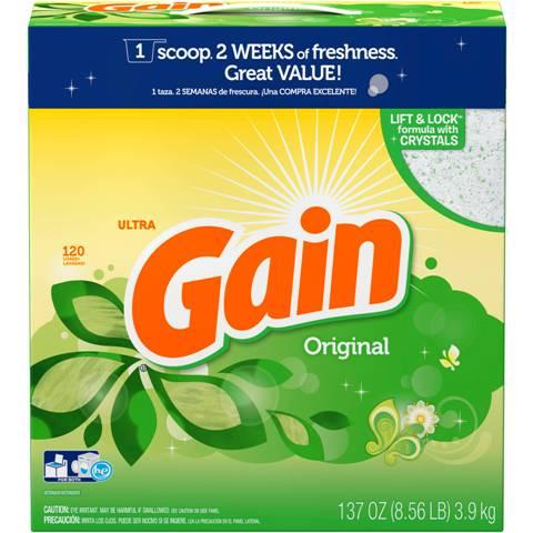 お得な大容量タイプ3.9kg!【GAIN】ウルトラゲインオリジナル濃縮粉末洗剤137oz/3.9kg