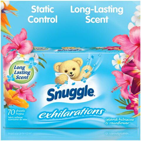 【Snuggle Exhilarations】スナッグル(スナグル)イグジラレーションズ乾燥機用柔軟シート アイランドハイビスカス&レインフラワー 70枚入