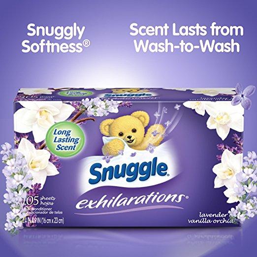 たっぷり使える105枚入り【Snuggle Exhilarations】スナッグル(スナグル)イグジラレーションズ乾燥機用柔軟シート ラベンダー&バニラオーキッド 105枚入