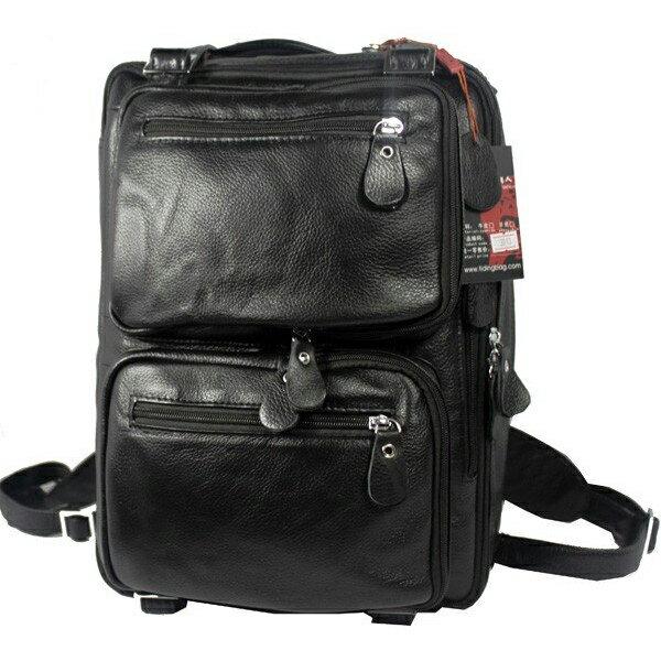 TIDING 潮牛 機能性3WAY 本革 リュックサック メンズ ビジネスリュック 黒 14PC A4 牛革 シュリンクレザー 通勤 書類鞄 出張 ディパック バックパック