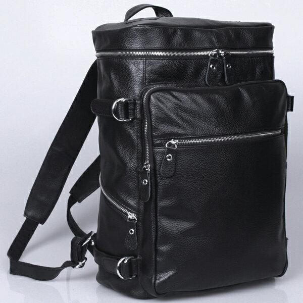 TIDING 潮牛 ボックス型 本革 リュックサック メンズ レザー 牛革 リュック ディパック バックパック 黒 2WAY 大容量 アウトドア トラベルバッグ 旅行 かばん 鞄 ビジネスリュック レディース 男女兼用 バッグ 撥水 ブラック D-MF MNFA_DL SBFA_DL