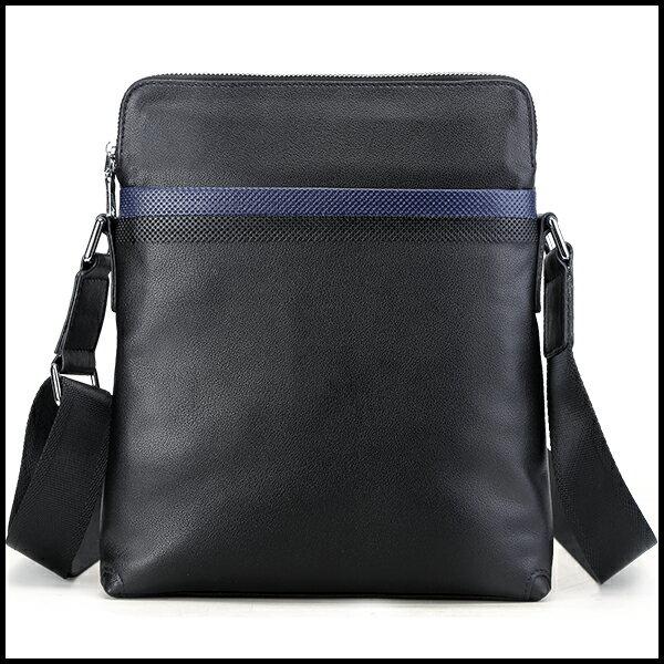 潮牛 本革 メンズ ショルダーバッグ 斜め掛け 水牛革 バッファローレザー 撥水 黒xネイビーパンチング型押飾り iPad対応 鞄 ギフト クリスマスプレゼント