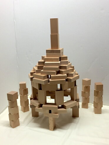 【小さな大工さん積み木セット箱入り】立方体20個直方体80個日本製白木の積み木名入れ売れ筋