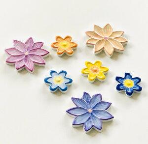 【花型タイル フラワー ハンドメイド花タイル】DIY や インテリア 工作 におすすめの 小さい 陶磁器 タイル