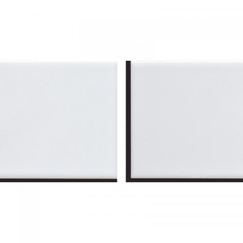 サブウェイタイル ベント シール 左右半ピース 2枚セット。ホワイト 黒目地。レトロモダン風 目地付。キッチンカウンター・洗面所の壁のDIYリフォームにOK(賃貸用に簡単剥がせる)・美濃焼・耐熱・防水・磁器質