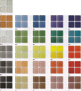 ガラスモザイクタイル シート販売 25角。床・壁(キッチン カウンター トイレ)のDIYリフォームに。透明感のあるシンプルなガラスタイルです。キラキラ輝くインテリア建材です。