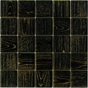 モザイクタイル シート 60mm 木目調 磁器質 アンティーク風 黒。ミックスデザインタイル対応、おしゃれなレトロモダン風。キッチン・玄関・テーブル・浴室(風呂)洗面所のDIYリフォームに