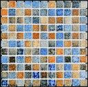 25角タイル モザイクタイル ガイア 茶・青窯変ミックス シート(121粒)販売。 アンティーク 大理石調のカラフルなミッ…
